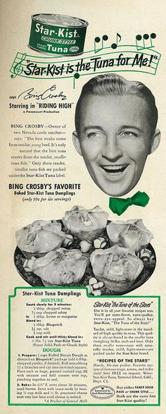 1950 Star-Kist Tuna, with Actor-Singer Bing Crosby & Tuna Dumplings Recipe – Best of recipes Photo Vintage, Vintage Ads, Vintage Posters, Vintage Food, Retro Food, 1950s Food, Old Advertisements, Retro Advertising, Retro Ads