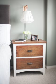 bedside table makeover: $30 table stripped, sanded, stained and
