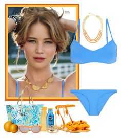 """Jennifer Lawrence in Swimwear"" by savannahlaclair ❤ liked on Polyvore"