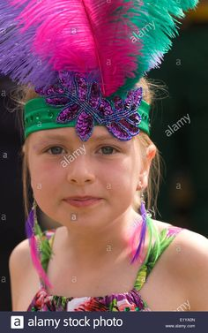 Stock Photo – 8 year old girl wearing Brazilian/carnival costume at a village summer fair which had a Brazil/World Cup 2014 theme – Kostüm Karneval Brazil Carnival Costume, Brazil Costume, Brazilian Carnival Costumes, Carnival Dancers, Carnival Dress, Carnival Themes, Samba Costume, Costume Hats, Diy Costumes