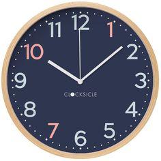 Clocksicle clock Lilac Walls, Navy Walls, Bright Walls, Pink Wall Clocks, Clock For Kids, Black Rims, Rainbow Wall, Telling Time, Simple Nails