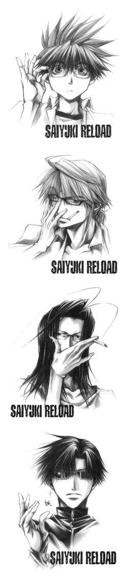 Saiyuki Reload ~~ Megane edition by Minekura Kazuya :: Note how bitching Hakkai looks! Yowza!