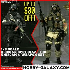 #SuperMCToys 1/6 scale #Russian #Spetsnaz FSB Alpha Uniform & Weapon set. Up to $30 off MSRP!  Pre-Order at Hobby-Galaxy.com!  #specialforces #russianarmy #actionfigures #actionfigure #onesix #onesixthfigure #onesixscale #onesixthrepublic #hobbygalaxy