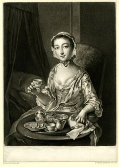 """Morning"" - Print by Richard Houston after Philippe Mercier 1750"