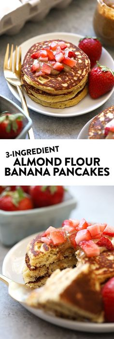 These 3 Ingredient Almond Flour Banana Pancakes are grain-free, dairy-free, and a super healthy way to start your day!