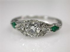 Diamond and Emerald Ring. Would love as an engagement ring minus the emerald Jewelry Box, Jewelry Rings, Jewelery, Jewelry Accessories, Antique Rings, Antique Jewelry, Vintage Jewelry, Vintage Rings, Diamond Rings