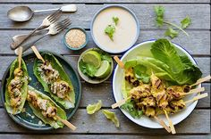 Cos It's Chicken Satay - Serve up this dish for family and friends with the chicken, lettuce, salad and sauce in different bowls, for the perfect DIY-build your own lunch or dinner.