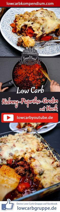 (Low Carb Kompendium) – Das Kidney-Paprika-Gratin mit Hack ist ein fantastischer Auflauf, der durch seine leichte Schärfe und die leckeren Kidney-Bohnen an die mexikanische Küche erinnert. Der Auflauf lässt sich sehr schnell zubereiten, überzeugt geschmacklich aber auf allen Ebenen Und nun wünschen wir dir viel Spaß beim Nachkochen, LG Andy & Diana.