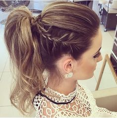 Beautiful High Ponytail Braid, Formal Ponytail, High Ponytail Hairstyles, High Ponytails, Prom Braid, Formal Hairstyles, Work Hairstyles, Pretty Hairstyles, Latest Hairstyles