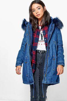 14bcfae7d84c6 Jessica Boutique Faux Fur Lined Denim Parka Denim Parka, Boohoo, Faux Fur