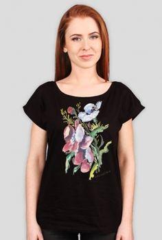Koszulka damska z nadrukiem techniką cyfrową. Akwarela kwiaty polne.
