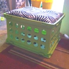 My version of some cute storage seats for the classroom. I used lime green and hot pink crates and zebra material.