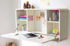 Idea about Bedroom - In a small space this clever fold away desk is a great way of maximising the functionality of the space. by: Laura Tichler on: Bella's room Fold Away Desk, Fold Out Desk, Sofa Set Designs, Bedroom Decorating Tips, Bedroom Ideas, Girls Room Design, Small Condo, Wall Desk, Girls Bedroom