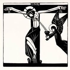 Stations of the Cross XII. Jesus Dies. Eric Gill woodcut.