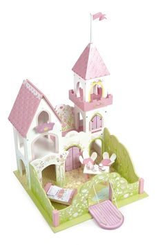 Fairybelle Palace by Le Toy Van. This Le Toy Van wooden fairy castle has highly detailed floral artwork, includes a high tower with flag, princess balcony, lifting Educational Toys For Kids, Kids Toys, Van Kitchen, Wooden Castle, Le Palace, Traditional Toys, Fairy Figurines, Floral Artwork, Princess Castle