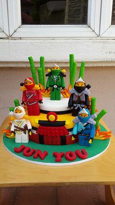 Ninjago Bolo Ninjago, Bolo Lego, Lego Ninjago Cake, Ninjago Party, Lego Birthday Party, Lego Cake, Minecraft Cake, 6th Birthday Parties, Batman Birthday