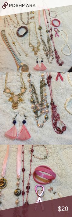 Large pink jewelry lot This bundle is pretty in pink💕. Includes: large shell 🐚 corded necklace white owl necklace and bracelet, pink feather earrings, corded bracelet, pink bead with silver necklace with matching earrings, pink multi strand necklace 4 sets of cute short dangles, long ribbon necklace long pink bead necklace, white shell 🐚 choker, bead bracelet, 4 pc breast cancer set. Jewelry Necklaces