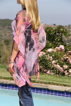 Black and Pink Caftan Sheer Tunic, Bathing Suit Cover Up, Abstract, Beach Cover Up, Modern Blouse, Summer Fashion on Etsy, $39.00