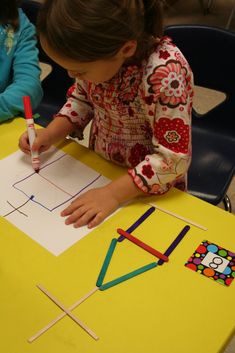 Have the students pick a number. Count that number of sticks. Make a design and recreate it with the same color markers on paper. Counting, geometry/shapes, art