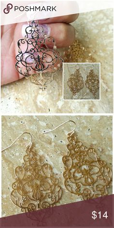 Delicate gold filigree earrings Gorgeous!  Timeless filigree design on a delicate gold tone. Discounts given on bundles Salty Grace  Jewelry Earrings