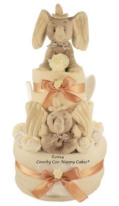 Deluxe luxury unisex baby gift nappy cake baby shower Dumbo elephant with keepsake capsule  www.CoochyCooNappyCakes.co.uk