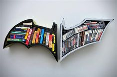 """Dark Knight bookshelf 2 For the """"Batman Room"""".  Maybe I could get my father in law to make me one of these."""