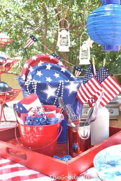 Get ready for a #4th of July party at Goodwill!  Everything here is from #Goodwill except for the paper products.