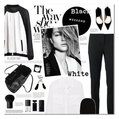 """""""Black & White"""" by erino9519 ❤ liked on Polyvore featuring Alasdair, Emilio Pucci, Equipment, MAKE UP FOR EVER, Valentino, Eyeko, NARS Cosmetics, Narciso Rodriguez, MAC Cosmetics and P.A.R.O.S.H."""