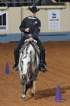 AQHA Superhorse Trainer, Blake Weis of Moberly, Mo., rides Snap Krackle Pop, a 5-year-old gray mare, in the junior trail competition at the American Quarter Horse Association World Championships, Snap Krackle Pop is owned by Twylla Brown of Perry, Mo.