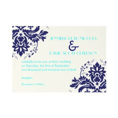 Elegant damask navy blue, aqua wedding invitation by weddings_