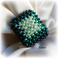 Beaded green seed bead Right Angle Weave ring, OOAK