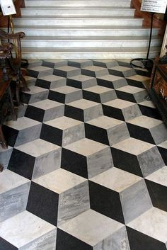 Creative Tile Flooring Patterns; also see flooring in Houzz book for Jackie; http://ext.homedepot.com/community/blog/bathroom-renovation-custom-upgrade-on-a-budget/