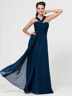 Vestido - Tinta Azul Baile Militar/Festa Formal/Festa de Casamento Tubo/Coluna Alças/Curação Longo Chiffon - BRL R$190.46