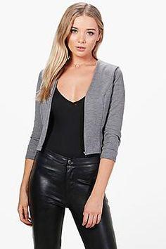 NEW Boohoo Womens Annabelle Collarless Ponte Blazer Blazers, Jackett, Sewing Basics, Fashion Outfits, Fashion Clothes, Boohoo, Leather Jacket, Clothes For Women, Grey