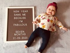Letter board, seven months old, new year same me Two Month Old Baby, 3 Month Old Baby Pictures, Baby New Year, Milestone Pictures, Monthly Pictures, Monthly Baby Photos, Newborn Baby Photos, Baby Month By Month, 8 Month Milestones Baby