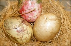 spring...blown egg shells decoupaged with paper scraps