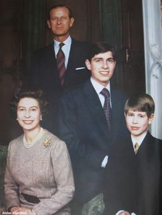 Queen Elizabeth II and Prince Philip with their sons, Prince Andrew, the Duke of York, and Prince Edward, the Earl of Wessex