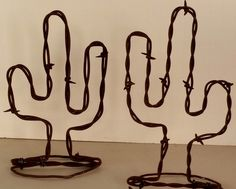"2 Rusty Barbed Wire Free Standing Cactus 6"" & 7"" Pair Western Decor- New Item!"