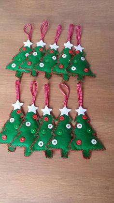 sapin en feutrine boutons Fimo décoration de Noël                                                                                                                                                                                 Plus