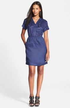 Burberry Brit 'Wednesday' Ramie Shirtdress available at Burberry Dress, Burberry Brit, Dresses For Sale, Dresses For Work, Dresses With Sleeves, Expensive Clothes, Military Fashion, Nordstrom Dresses, Dress Outfits
