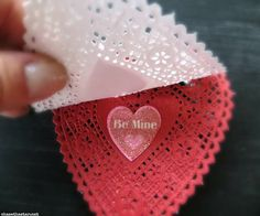 DIY Valentine's Cards from heart doilies - super cute
