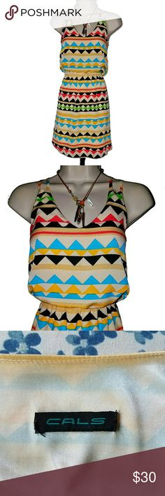 Cals Mini Sundress Fully lined Aztec print sundress w/ elastic sewn in waist. 100% polyester.  Great condition. Cals Dresses Mini