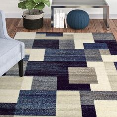 Orren Ellis Taira Block Multi-Color Abstract Area Rug Rug Size: Rectangle X Modern Entertainment Center, Throw Rugs, Room Rugs, Beige Area Rugs, Decoration, Rug Size, Blue Grey, Blue Brown, Interior Design