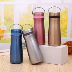 Double walls stainless steel water bottle in 350ml & 500ml capacity.  Any color is available upon your request.  Factory supply directly. sales3@ldmug.com Thermal Flask, Thermal Bottle, Coffee Flask, Water Flask, Camping Cups, Stainless Water Bottle, Stainless Steel Coffee Mugs, Travel Bottles