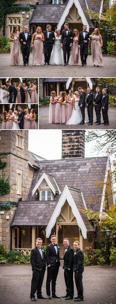 The Wedding Party Ideas for Clothes, Black Bow Tie, Black Suites for the men, Dusky Pink Bridesmaids Dresses. Ushers, Bride, Groom,