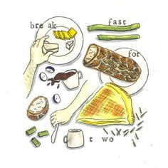 • breakfast for two • Cut Pineapple, Food Illustrations, Drawings, Breakfast, Recipes, Sketches, Sketch, Recipies, Drawing