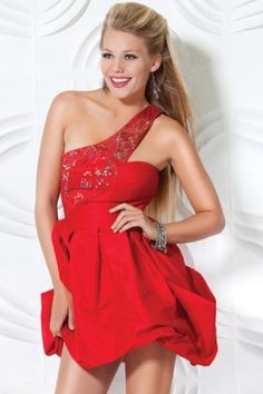 red dress with embroidery and ruffles