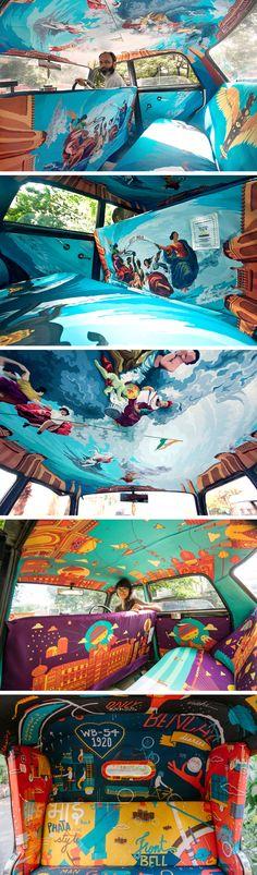 Taxi Fabric Fills Plain Cab Interiors with Vibrant Original Artworks