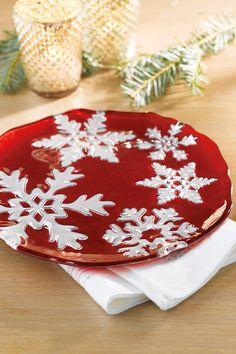 Vietri red glass snowflake salad plate #belk #holidays