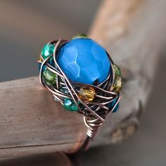 Blue Tigereye Bead Copper Wire Wrapped Handmade by Mayahelena, $38.00